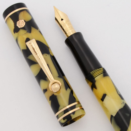 Wahl Eversharp Gold Seal Full Size Fountain Pen  (1920s) - Black & Pearl, Lever Filler, Manifold Nib (Excellent, Restored)