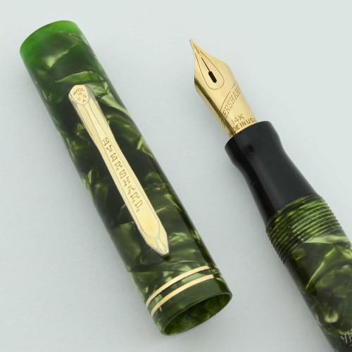 Wahl Pen Fountain Pen (1920-30s) - Full Size Slender, Green Marble, Fine Cursive Italic Nib (Excellent, Restored)
