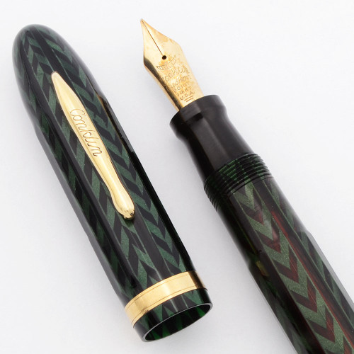 Conklin Nozac Fountain Pen (1934) - Faceted, Green Herringbone, Piston Filler,  Fine 14k Cushon Point (Excellent, Restored)