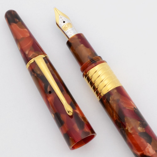 Bexley Tapered  Fountain Pen (2000s)  - Fall Colors w/Gold Trim, C/C, Broad 18k Nib (Excellent +,  Works Well)