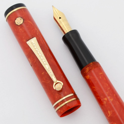 Wahl Gold Seal Fountain Pen - Roller Clip, Full Size, Coral, Manifold Gold Seal Nib  (Excellent +, Restored)
