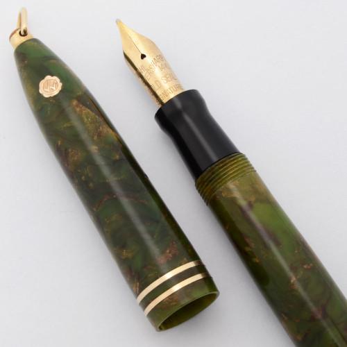 Wahl Eversharp Gold Seal Ring Top - Brazilian Green, Lever Filler, Medium Signature Nib (Superior, Restored)