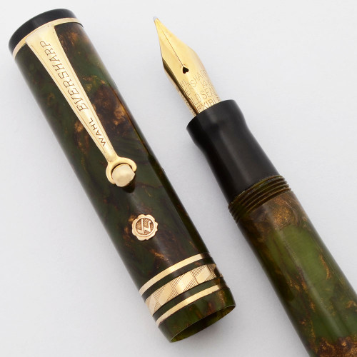Wahl Gold Seal Fountain Pen - Brazilian Green w Rhomboid Band, Medium 14k Flexible Nib (Excellent, Restored)