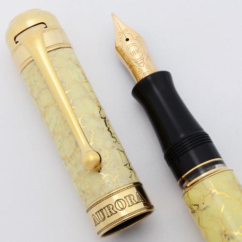 Aurora Jubileum Limited Edition Fountain Pen - Ivory Lacquer, GP Trim, 18k Medium Nib (Near Mint, Works Well)