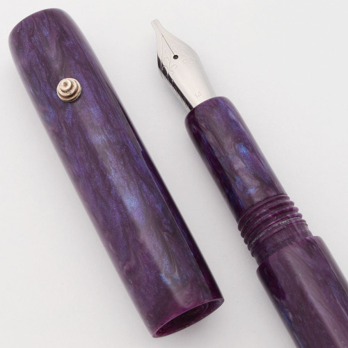 PSPW Prototype Fountain Pen - Purple and Blue Alumilite, Tiered Sterling Roll Stop, #6 JoWo Nibs (New)