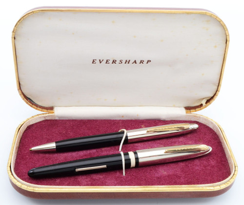Eversharp Symphony 500 (Loewy First Version) Fountain Pen Set  (1948-49)- Black w/Stainless Steel Caps and Gold Trim,  Flexible Fine 14k Nib (New Old Stock, in Box,  Minor Pitting on Pencil Cap, Restored)