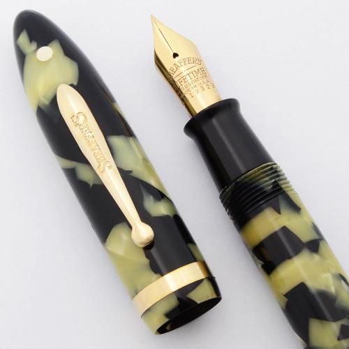 Sheaffer Balance Lifetime Oversized Fountain Pen (c 1929) - Black Pearl, Short Flat Hump Clip, 14k Lifetime Fine Nib (Excellent +, Restored)