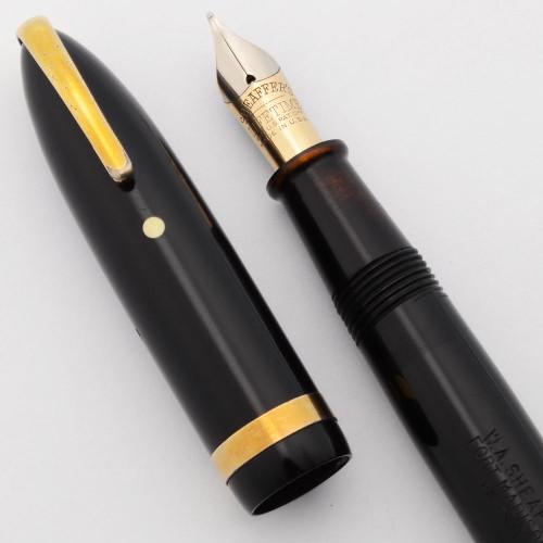 "Sheaffer Balance Lifetime Military Clip ""Sovereign""(1940s) - Full Size , Black w/Gold Trim, Medium-Fine 14k Nib (Very Nice, Restored)"