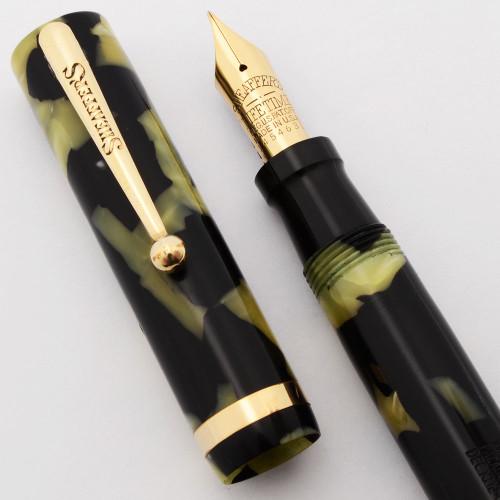 Sheaffer Lifetime Flat Top Fountain Pen, 1920's - Oversized, Black & Pearl,  Lever Filler, Medium Lifetime Nib (Excellent, Restored)