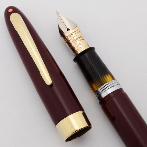Sheaffer Statesman Fountain Pen (Late 40s/Early 50s) - Fat Version , Burgundy, Touchdown, Fine 14k Nib (Excellent, Restored)