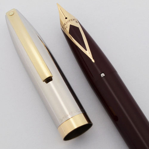 Sheaffer PFM IV Snorkel Fountain Pen (1959-63) - Burgundy w/Steel Cap and GP Trim, Medium Nib (Excellent, Restored)