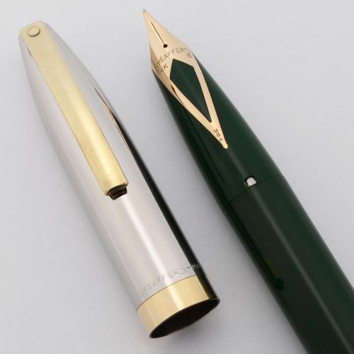 Sheaffer PFM IV Snorkel Fountain Pen (1959-63) - Green, Steel Cap with GP Trim, Medium Nib (Excellent, Restored)
