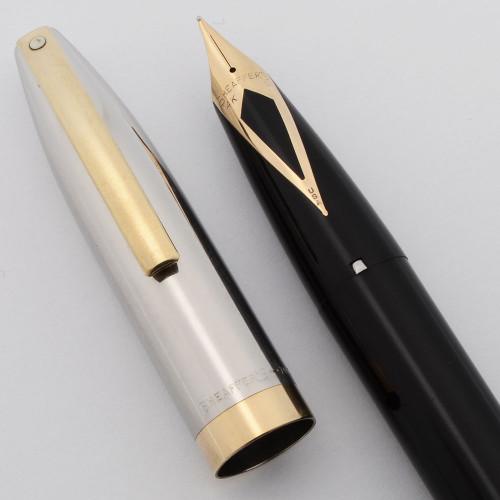Sheaffer PFM IV Snorkel Fountain Pen (1959-63) - Black, Steel Cap with GP Trim, Medium Nib (Excellent, Restored)