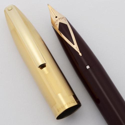 Sheaffer PFM V Fountain Pen (1959-68) - Snorkel, Burgundy w Gold Filled Cap, 14k Medium Nib (Excellent,  Restored)