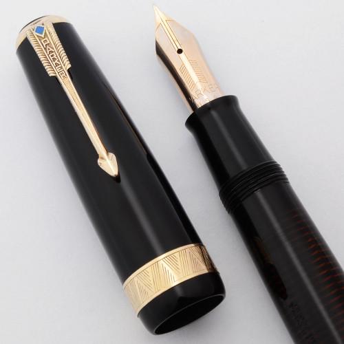 Parker Vacumatic Maxima Fountain Pen (1940) -  Black, Speedline Filler, 14k Fine Nib (Excellent +, Restored)