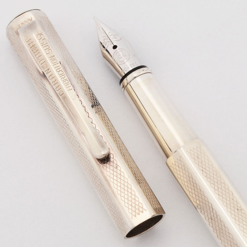 Caran d'Ache Ecridor Retro Fountain Pen - Rhodium Barleycorn, Fine 18k Nib (Excellent, Works Well)