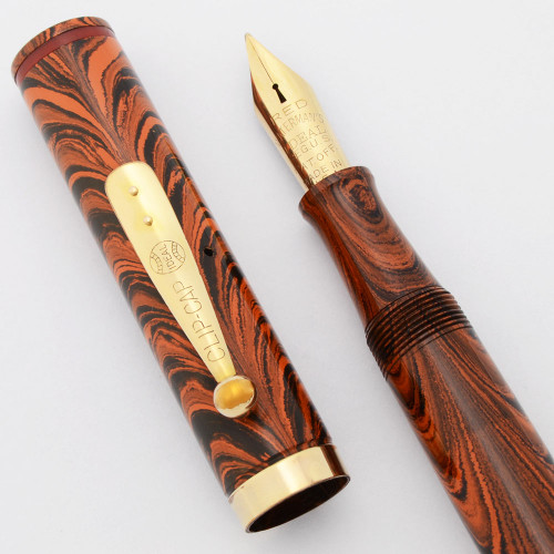 Waterman 7 Colorband Red Ripple Fountain Pen - Red Band, Lever Filler, Flexible Medium Nib (Excellent +, Restored)