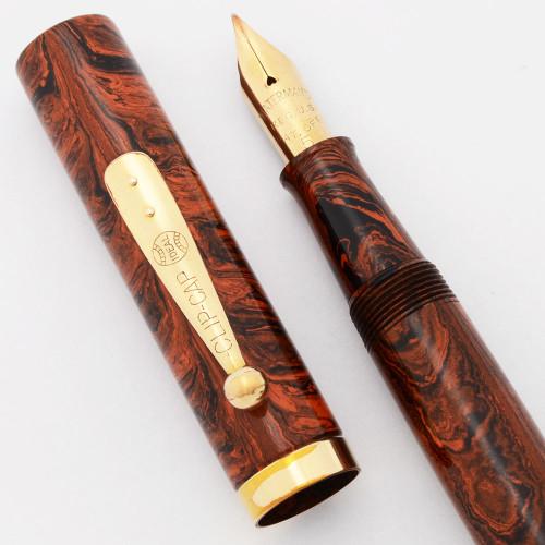 Waterman 55 Fountain Pen - Red Ripple Ebonite, Fine Flexible #5 Nib (Excellent, Restored)