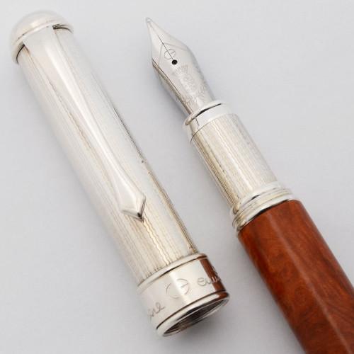 Cesare Emiliano Fountain Pen (Hercules?) - Sterling w/Briar Wood and Mahogany, C/C, Medium Steel Nib (Near Mint, Works Well)