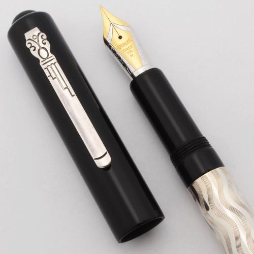 Marlen Fountain Pen - Sterling Barrel, Black Cap, Medium 18k Nib (Excellent, Works Well)