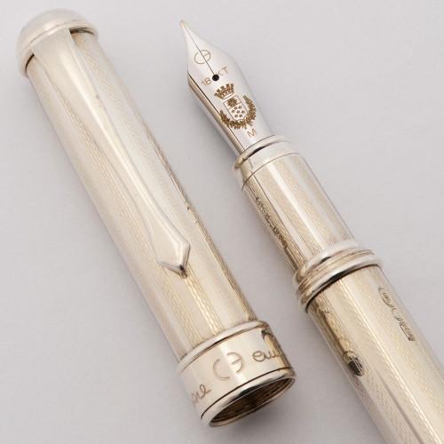 Cesare Emiliano Fountain Pen (Hercules?) - Sterling Silver , C/C, Medium 18k Nib (Near Mint, Works Well)