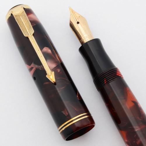 Parker Vacumatic Junior Fountain Pen (1936) - Burgundy Pearl Marble, Lockdown Fill, Medium Nib (Excellent, Restored)
