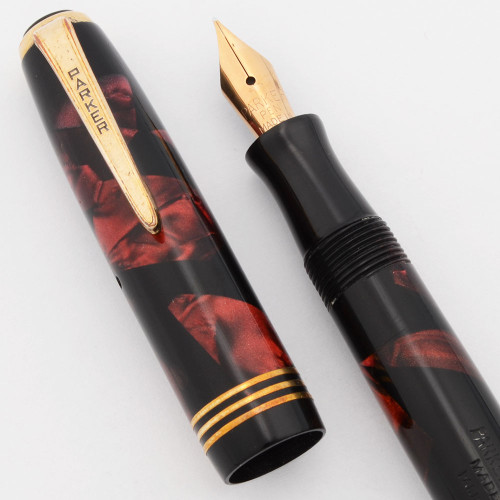 Parker Deluxe Challenger (1937) - Red Marble, Tapered Clip, Small Size, Button Filler, Fine Nib (Excellent, Restored)