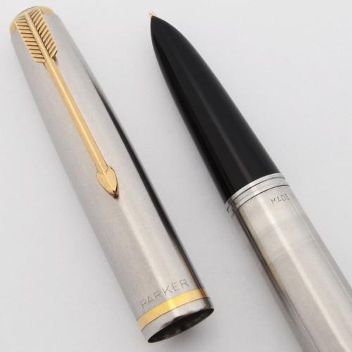 Parker 51 Aerometric Fountain Pen (1950) - Flighter w GP Band, Medium 14k Nib (Excellent, Works Well)