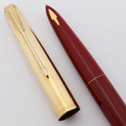 Parker 61 Fountain Pen Mk I (1950s) - Red w/GT Heirloom Rainbow Cap, Capillary Filling System, Fine Nib (Excellent, Works Well)