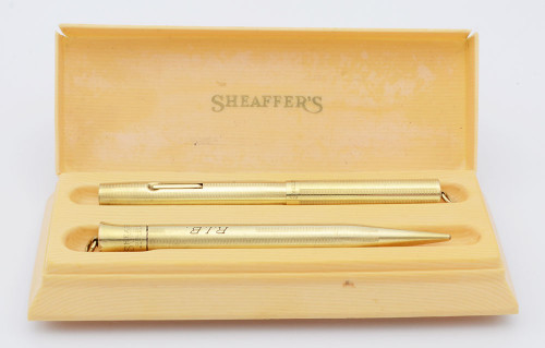 Sheaffer #1 Self Filling Fountain Pen Set - Extra Small Ring Top, Gold Filled, Flexible Fine (Excellent in Box, Restored)