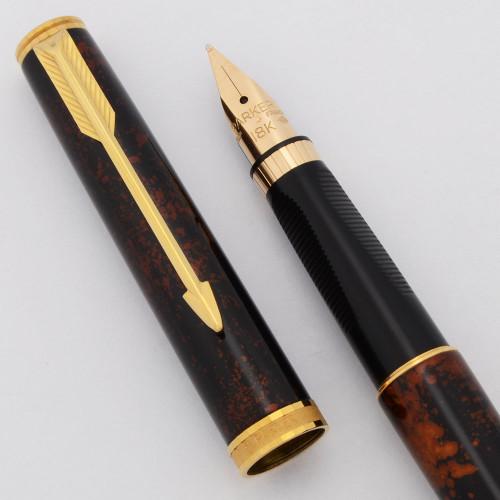Parker 75 Premier Fountain Pen (1980s) - Chinese Lacque, C/C, Medium 18k Nib (Excellent +, Works Well)