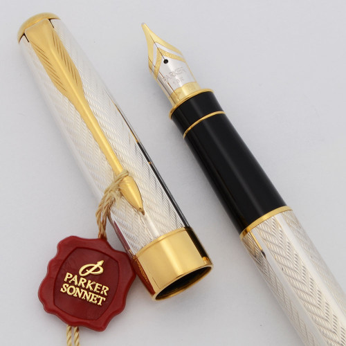 Parker Sonnet Fountain Pen (2002) -  Sterling Fougere, C/C, Medium 18k Nib (Near Mint, Works Well)