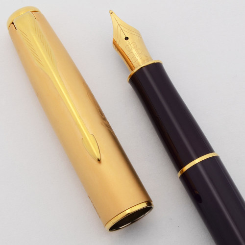 """Parker Sonnet """"Accession"""" SE Fountain Pen (2002) - Royal Purple and Gold, C/C, Medium GP Nib (Very Nice, Works Well)"""
