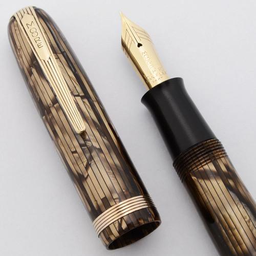 "Moore 94-A Fountain Pen   (1948)  - ""Autumn Pearl"" Brown Striated w Gold Trim, Lever Filler,  14k Fine Maniflex Nib (Excellent, Restored)"