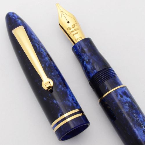 Leonardo Furore Fountain Pen -  Blue Galaxy Resin, C/C, Stub Nib (Near Mint, Works Well)