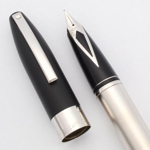 Sheaffer Legacy 2 Fountain Pen (#865, 1999) - Black Matte Cap w Sandblasted Palladium Body, C/C, 18k Medium Nib (Near Mint in Box, Works Well)