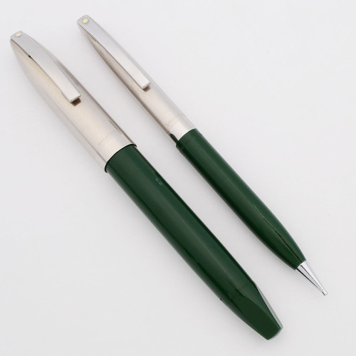 Sheaffer PFM II Fountain Pen and Pencil Set (1960s) - Green w/Steel Caps,  Snorkel Filling System, Fine PdAg Long Diamond Nib (Excellent, Works Well)