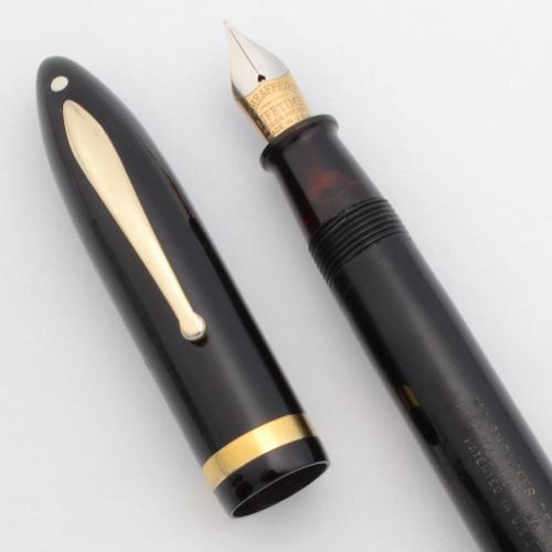 "Sheaffer Balance Lifetime Oversize ""Premier"" (1935-42) - Black w/Gold Trim, Lever Fill, 14k Fine Nib (Very Nice, Restored)"