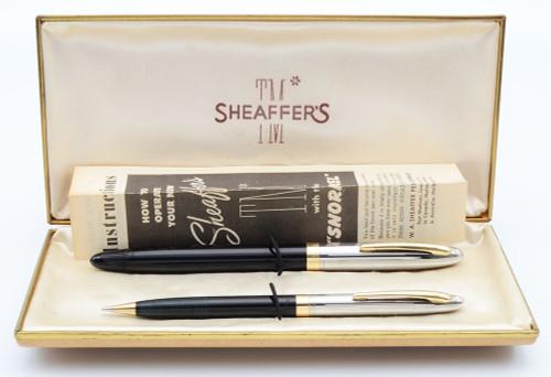 Sheaffer Sentinel Snorkel Fountain Pen Set - First Year w 14k Tube, Black, Factory Italic Stub 14k Nib (Excellent in Box, Restored)