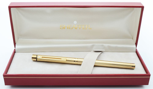 Sheaffer Targa 1005S Fountain Pen - Gold Fluted, 14k Nibs, Slim Converter Included (New Old Stock in Box)