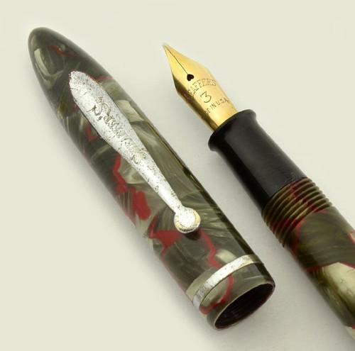Sheaffer Balance Fountain Pen - Junior Size, Grey w Red Veins, #3 Medium Nib (Excellent, Restored)