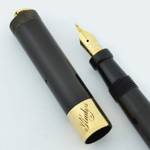 Parker Lady Duofold Deluxe Fountain Pen - Wide Band, Black Hard Rubber, Flexible Extra Fine (Excellent, Restored)