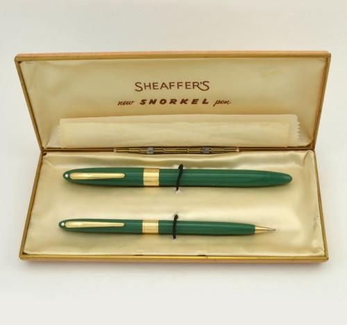 Sheaffer Valiant TM Snorkel Set - Pastel Green, 14k Tube, Fine (Excellent, Boxed, Restored)