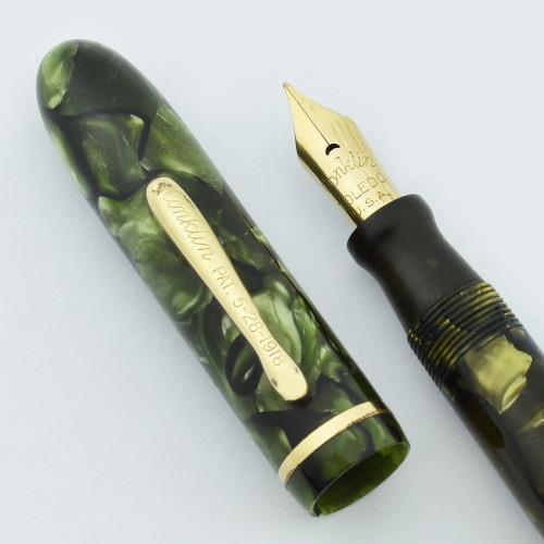 Conklin Ensemble Combo Fountain Pen - Green Marble, Semi-Flex Fine Nib (Very Nice, Restored)