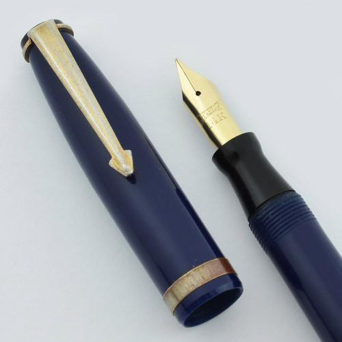 Secretary Newark Pen Co. Fountain Pen - Blue, Gold Trim, 14k Semi-Flex Nib (Very Nice, Restored)