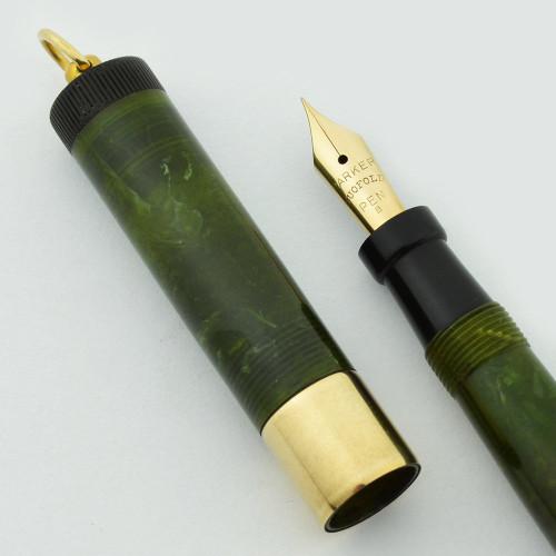 Parker Lady Duofold Deluxe Fountain Pen - Wide Band, Jade Green, Extra Fine Gold Nib (Excellent, Restored)
