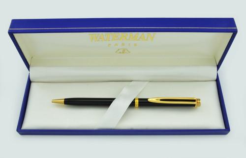 Waterman Gentleman Ballpoint Pen - Black Lacquer, Gold Trim (Mint in Box)