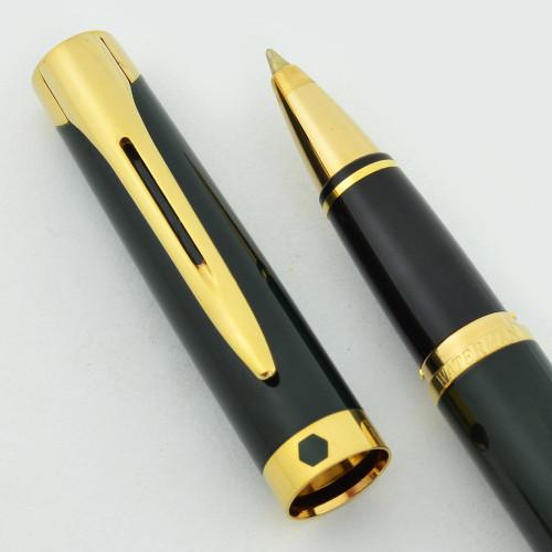 Waterman L'Etalon Rollerball Pen - Green Lacquer, Gold Trim (Near Mint)
