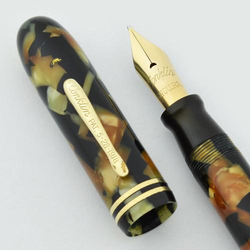 Conklin Endura Symetrik Oversized Fountain Pen - Black and Pearl, Semi-Flex Broad (Excellent, Restored)