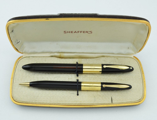 Sheaffer Triumph 2000 Signature Fountain Pen Set - 1940s, Black w Wide Band, Solid Gold Clip, Vac-Fill (Excellent, Restored, Boxed)
